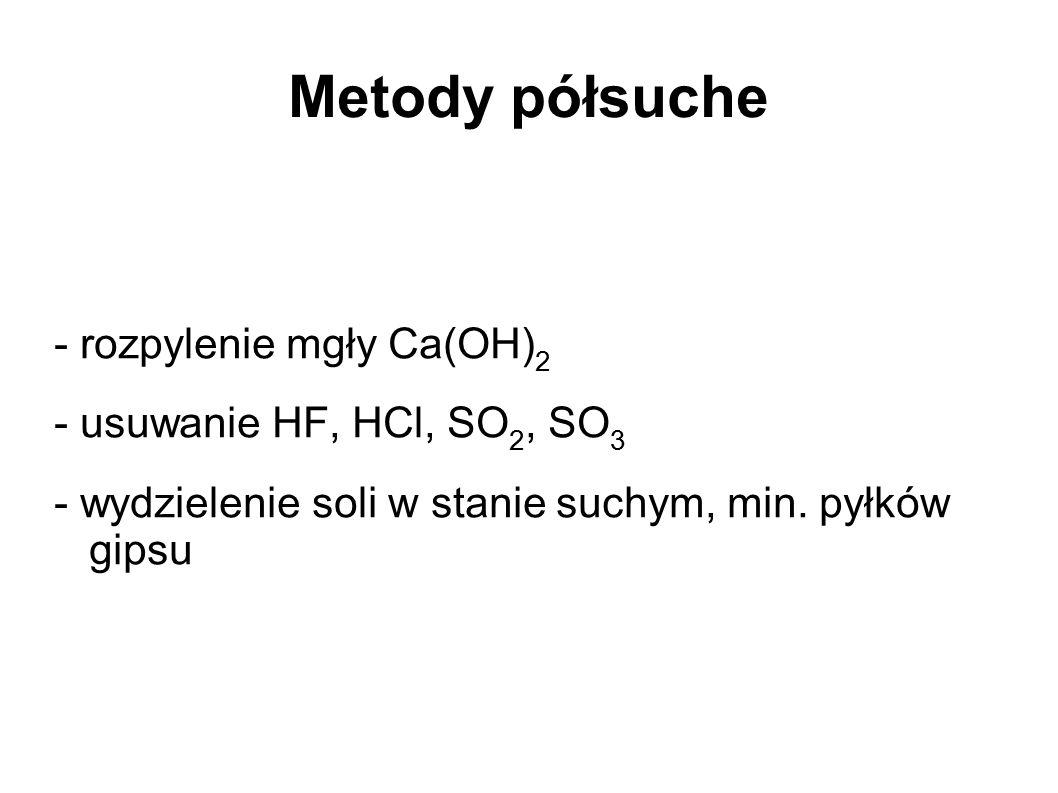 Metody półsuche - rozpylenie mgły Ca(OH)2 - usuwanie HF, HCl, SO2, SO3
