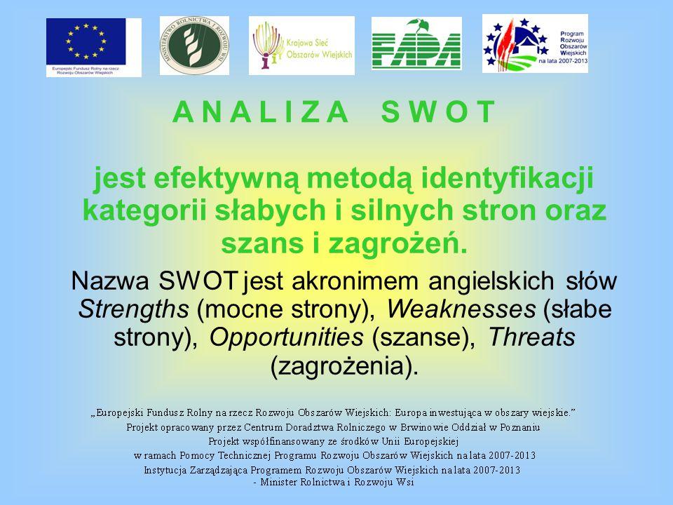 A N A L I Z A S W O T jest efektywną metodą identyfikacji kategorii słabych i silnych stron oraz szans i zagrożeń.