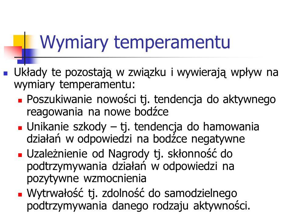 Wymiary temperamentu Układy te pozostają w związku i wywierają wpływ na wymiary temperamentu: