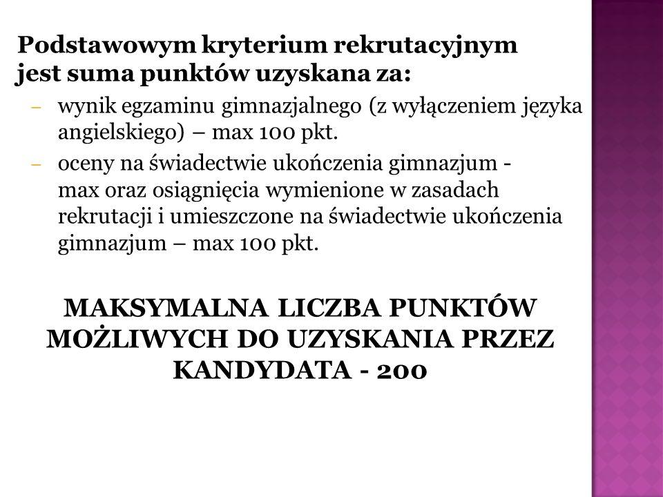 MAKSYMALNA LICZBA PUNKTÓW MOŻLIWYCH DO UZYSKANIA PRZEZ KANDYDATA - 200