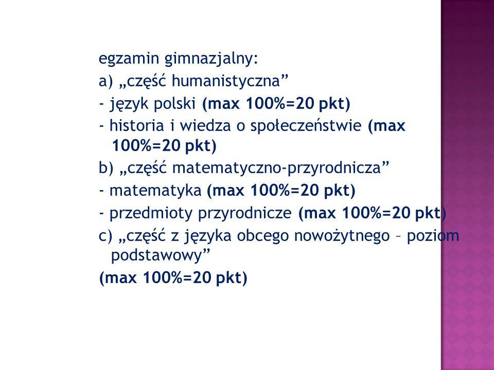 """egzamin gimnazjalny: a) """"część humanistyczna - język polski (max 100%=20 pkt) - historia i wiedza o społeczeństwie (max 100%=20 pkt)"""
