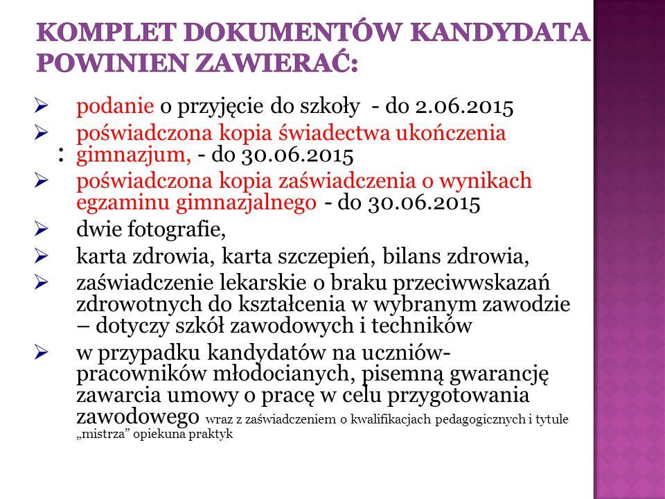 : podanie o przyjęcie do szkoły - do 2.06.2015