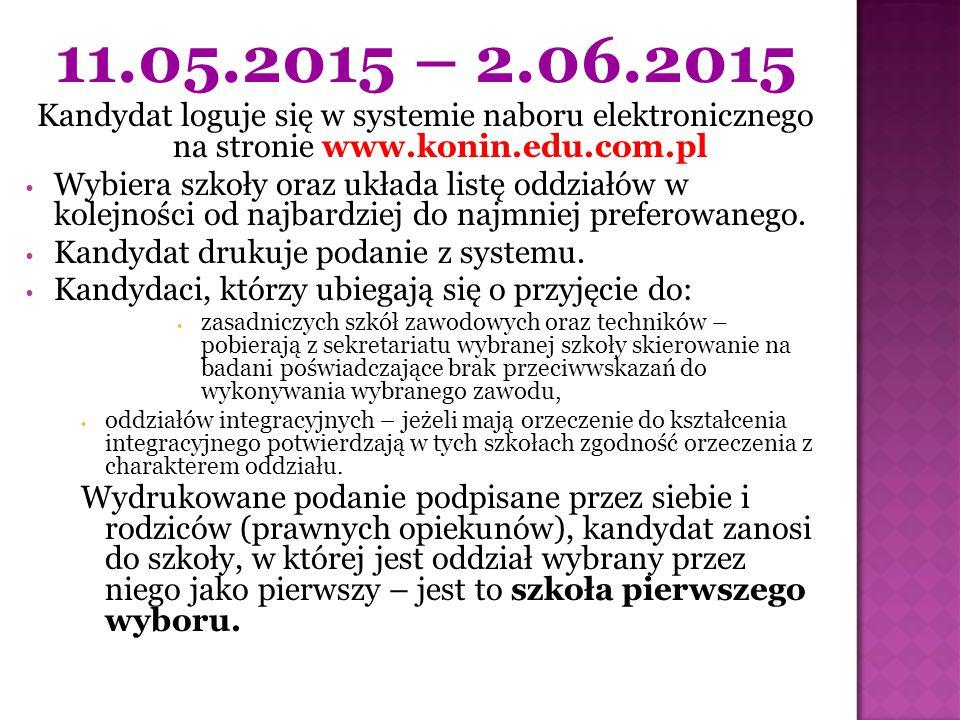 11.05.2015 – 2.06.2015 Kandydat loguje się w systemie naboru elektronicznego na stronie www.konin.edu.com.pl.