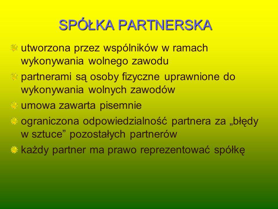 SPÓŁKA PARTNERSKA utworzona przez wspólników w ramach wykonywania wolnego zawodu.