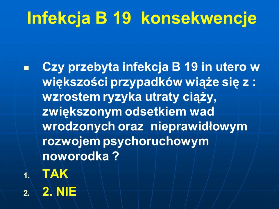 Infekcja B 19 konsekwencje