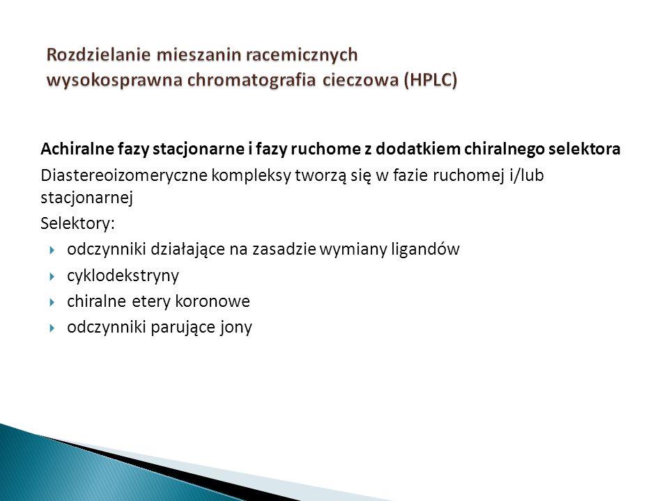 Rozdzielanie mieszanin racemicznych wysokosprawna chromatografia cieczowa (HPLC)