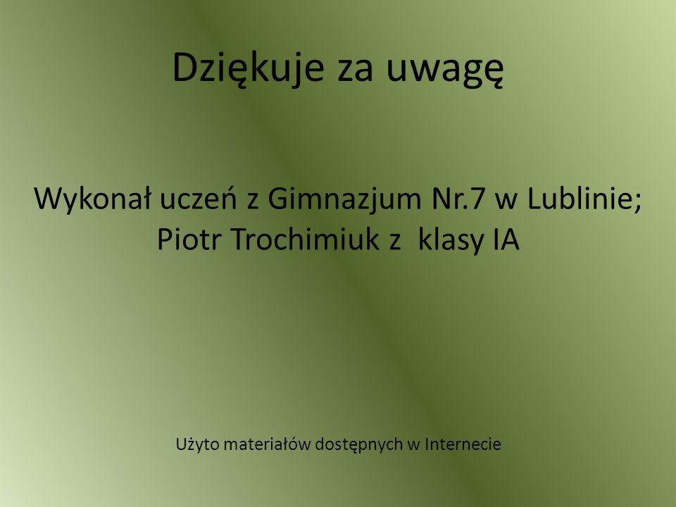 Dziękuje za uwagę Wykonał uczeń z Gimnazjum Nr.7 w Lublinie; Piotr Trochimiuk z klasy IA.