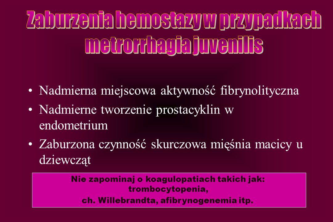 Zaburzenia hemostazy w przypadkach metrorrhagia juvenilis