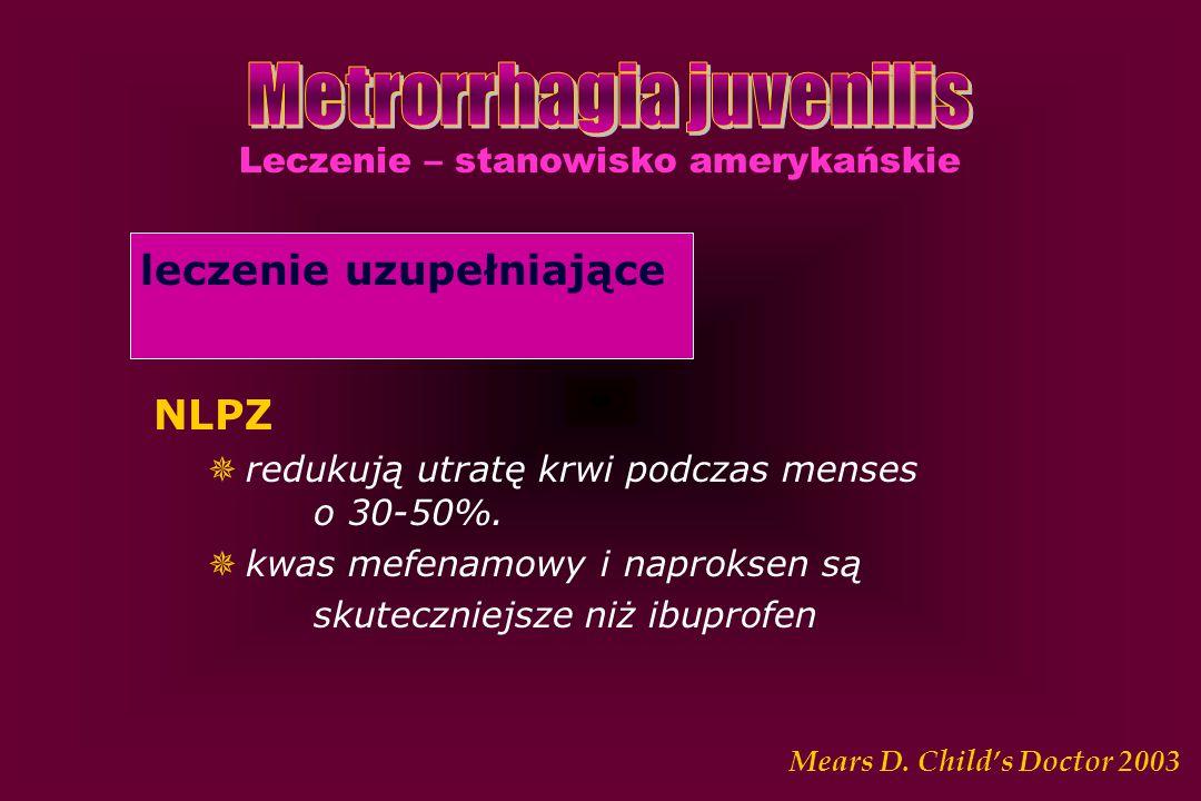Metrorrhagia juvenilis Leczenie – stanowisko amerykańskie