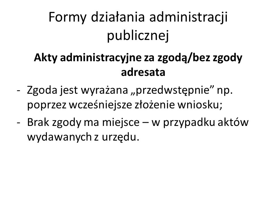 Formy działania administracji publicznej