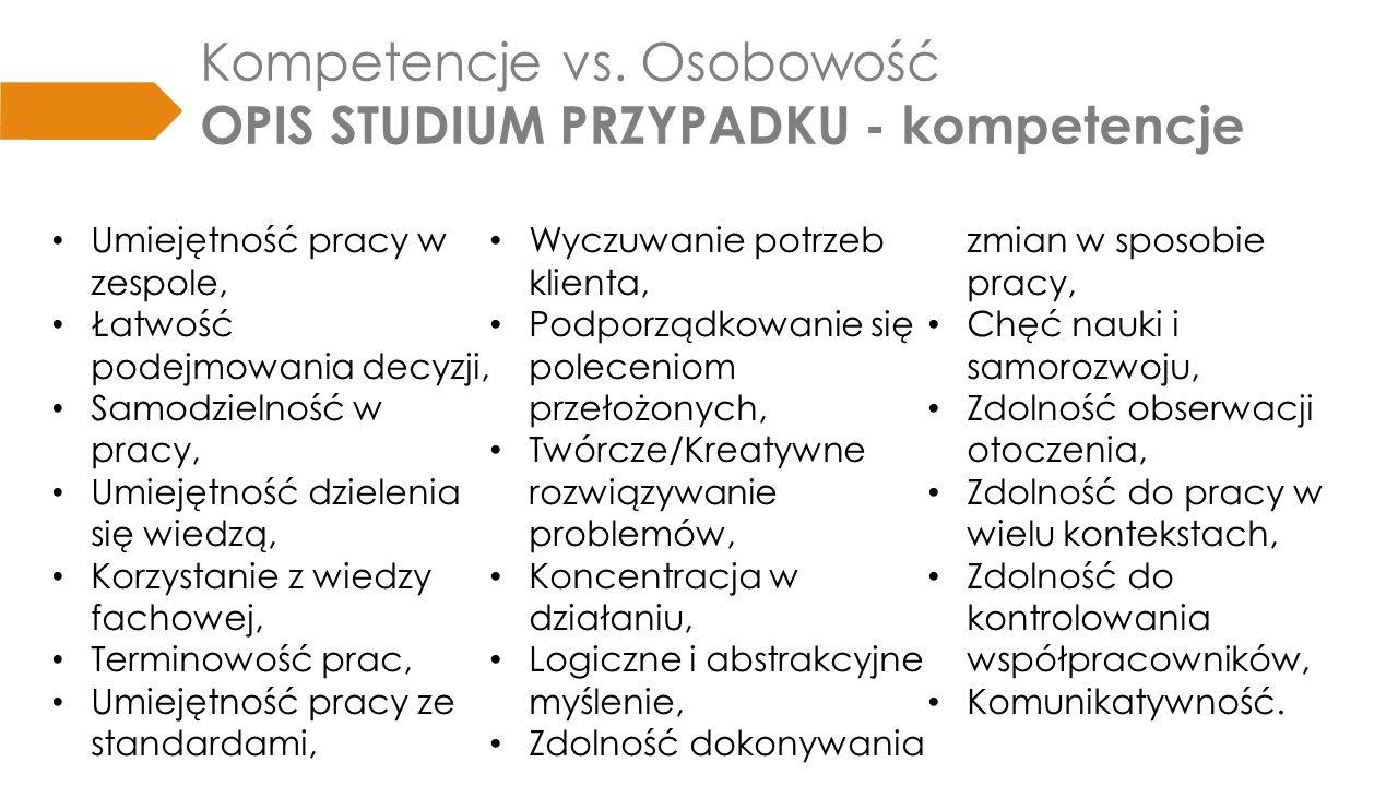 Kompetencje vs. Osobowość OPIS STUDIUM PRZYPADKU - kompetencje