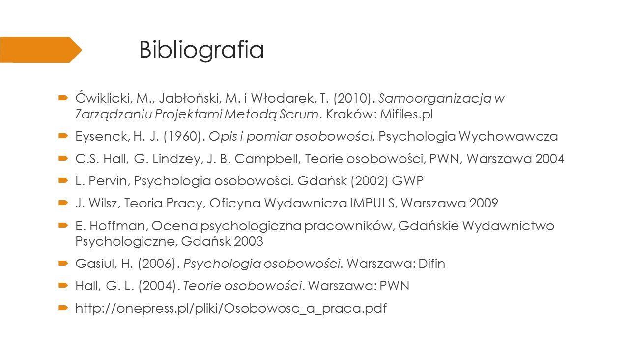 Bibliografia Ćwiklicki, M., Jabłoński, M. i Włodarek, T. (2010). Samoorganizacja w Zarządzaniu Projektami Metodą Scrum. Kraków: Mifiles.pl.