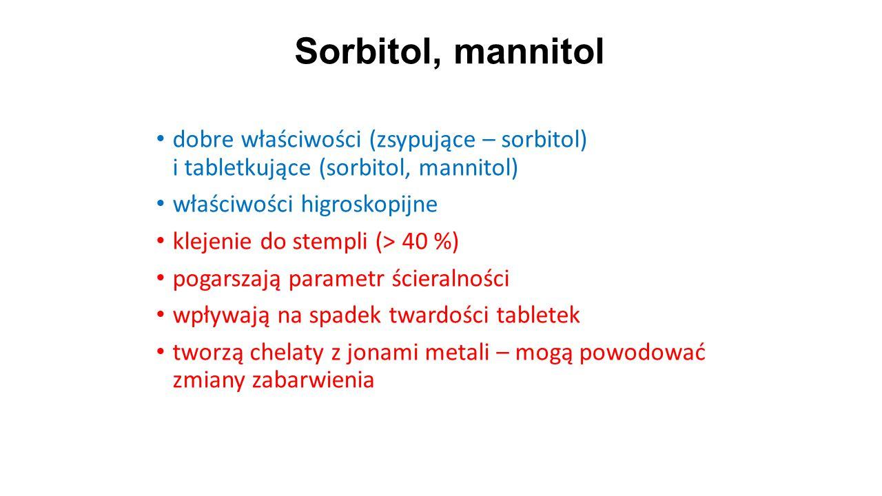 Sorbitol, mannitol dobre właściwości (zsypujące – sorbitol) i tabletkujące (sorbitol, mannitol) właściwości higroskopijne.