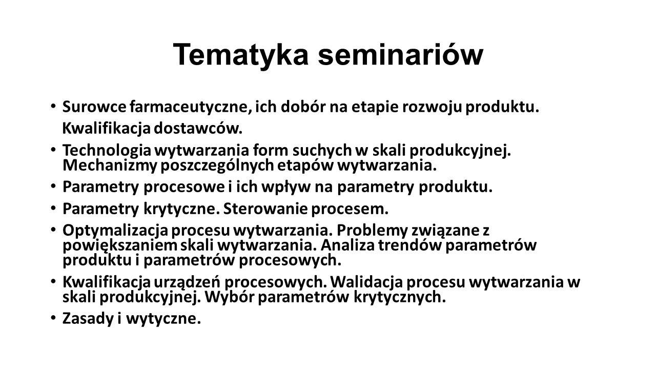 Tematyka seminariów Surowce farmaceutyczne, ich dobór na etapie rozwoju produktu. Kwalifikacja dostawców.