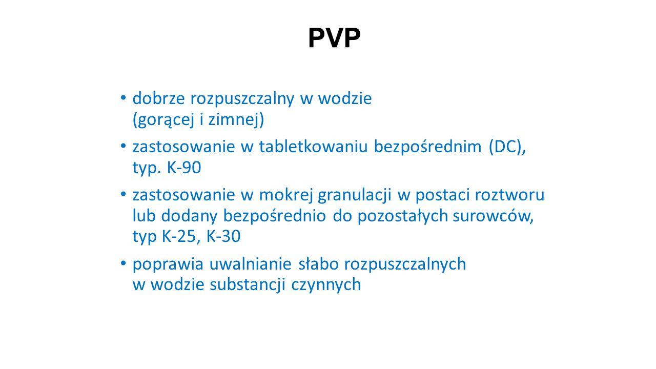 PVP dobrze rozpuszczalny w wodzie (gorącej i zimnej)
