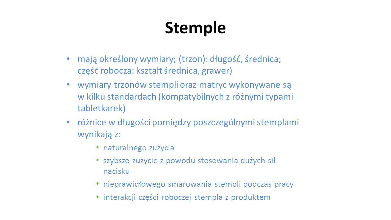 Stemple mają określony wymiary; (trzon): długość, średnica; część robocza: kształt średnica, grawer)