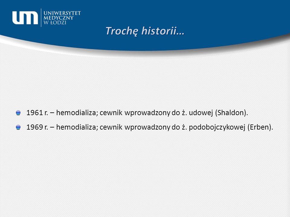 Trochę historii… 1961 r. – hemodializa; cewnik wprowadzony do ż. udowej (Shaldon).