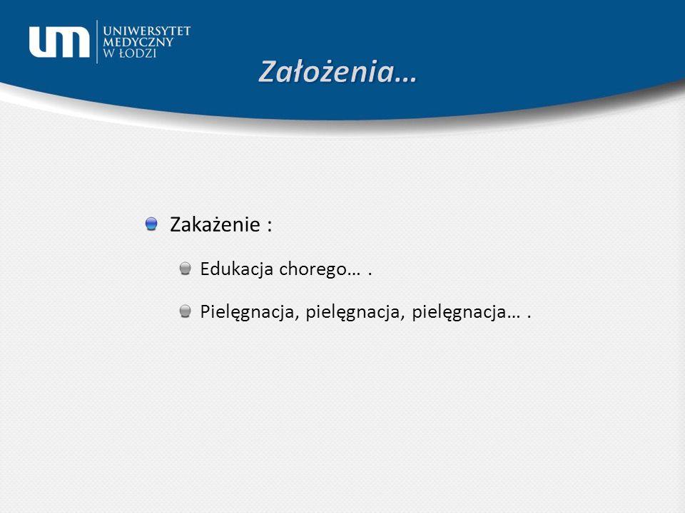 Założenia… Zakażenie : Edukacja chorego… .