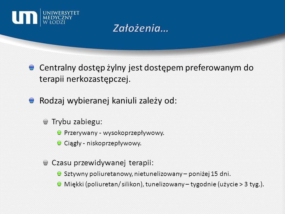 Założenia… Centralny dostęp żylny jest dostępem preferowanym do terapii nerkozastępczej. Rodzaj wybieranej kaniuli zależy od:
