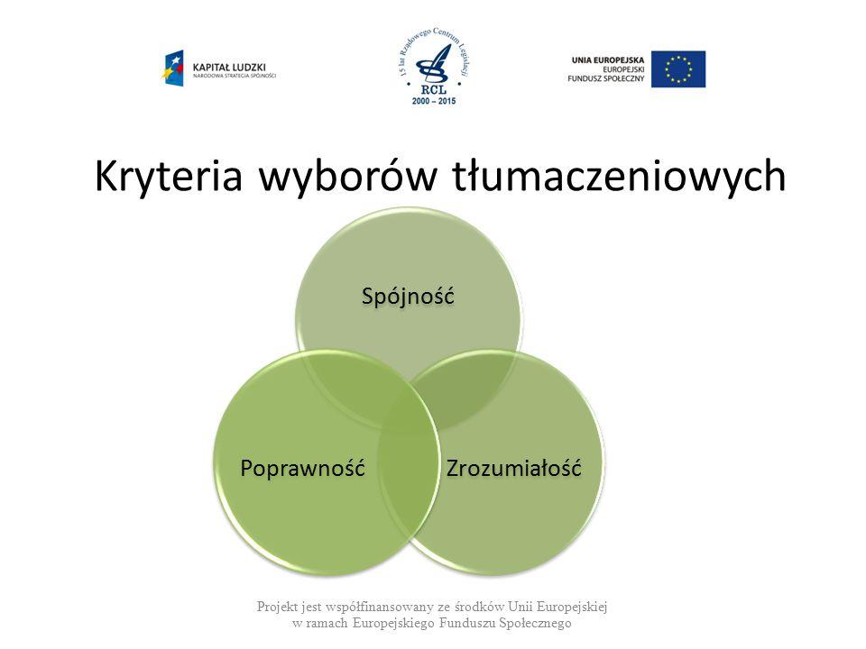 Kryteria wyborów tłumaczeniowych