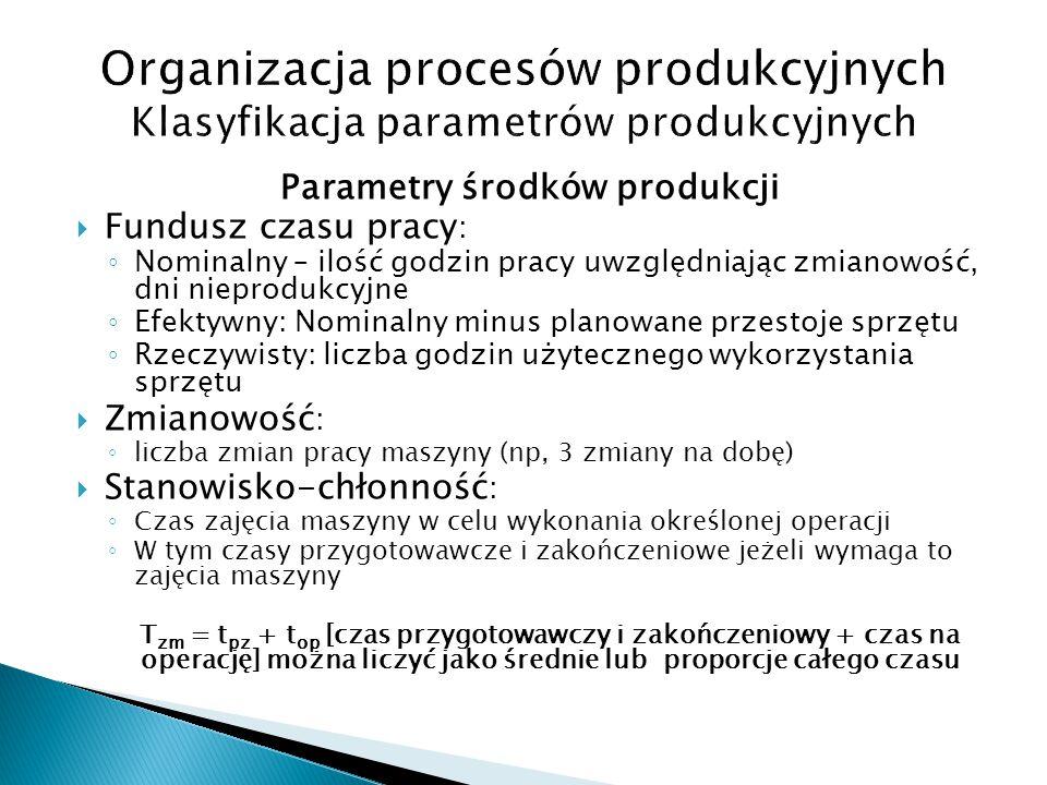 Parametry środków produkcji