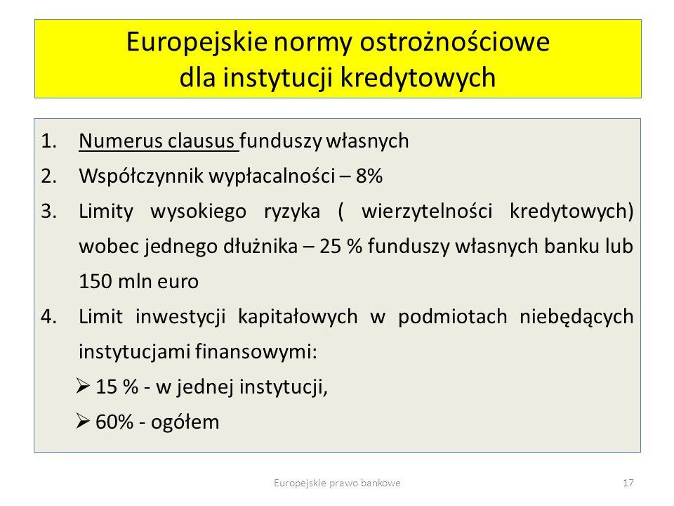 Europejskie normy ostrożnościowe dla instytucji kredytowych