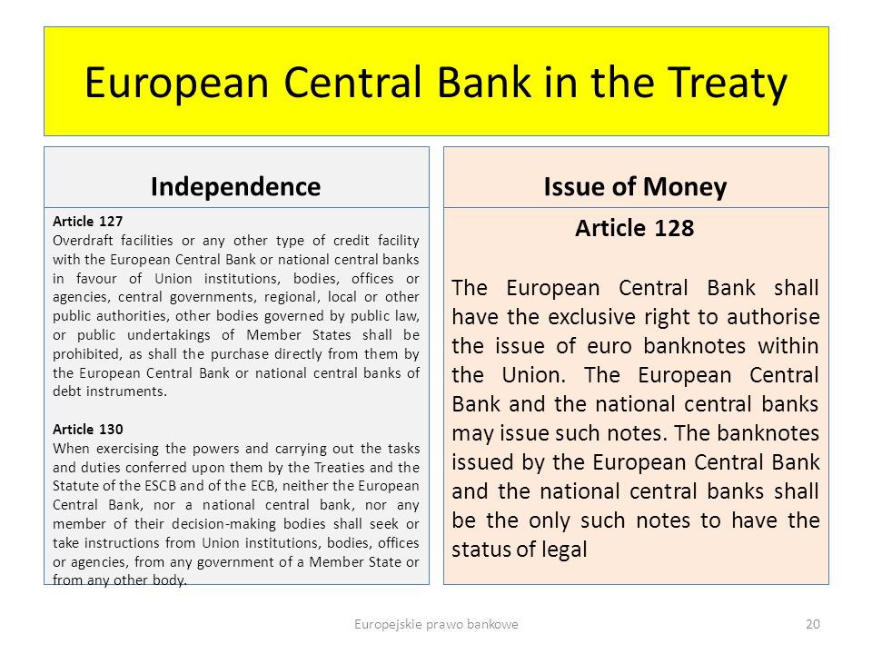 European Central Bank in the Treaty