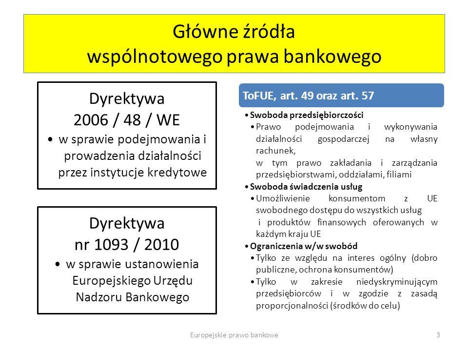 Główne źródła wspólnotowego prawa bankowego