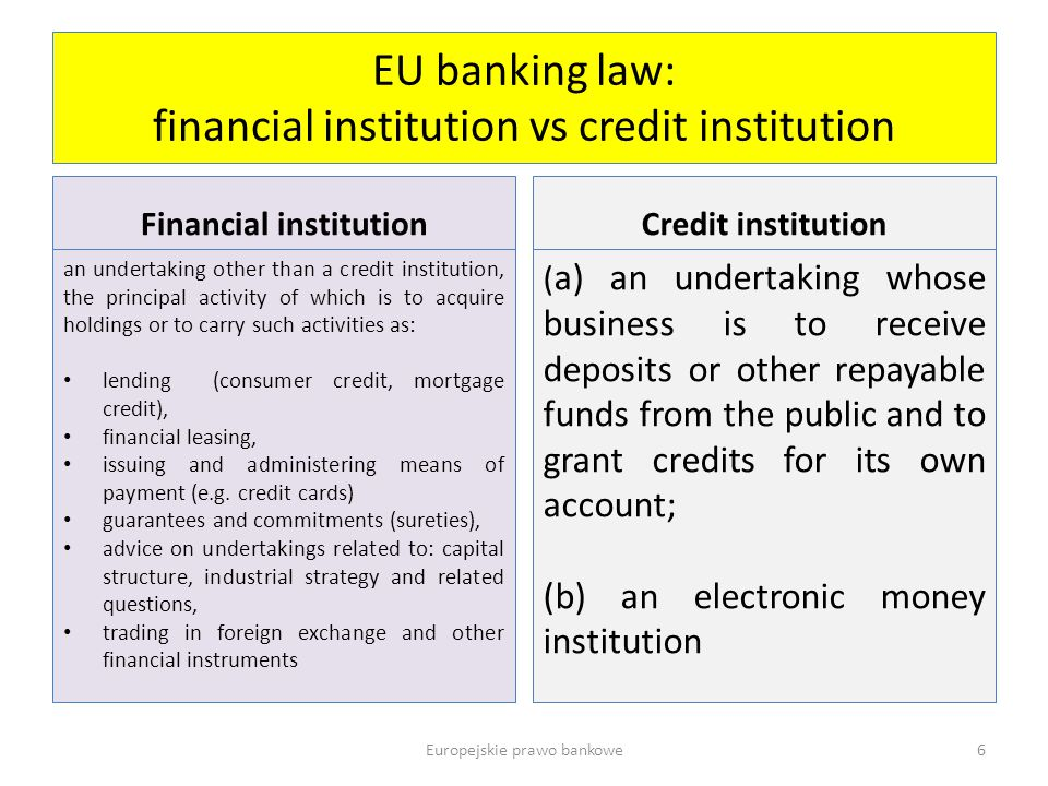 EU banking law: financial institution vs credit institution