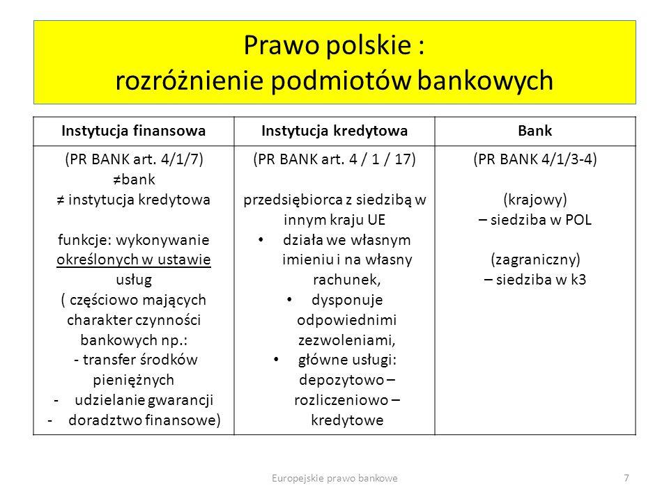 Prawo polskie : rozróżnienie podmiotów bankowych