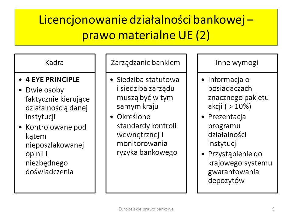 Licencjonowanie działalności bankowej – prawo materialne UE (2)