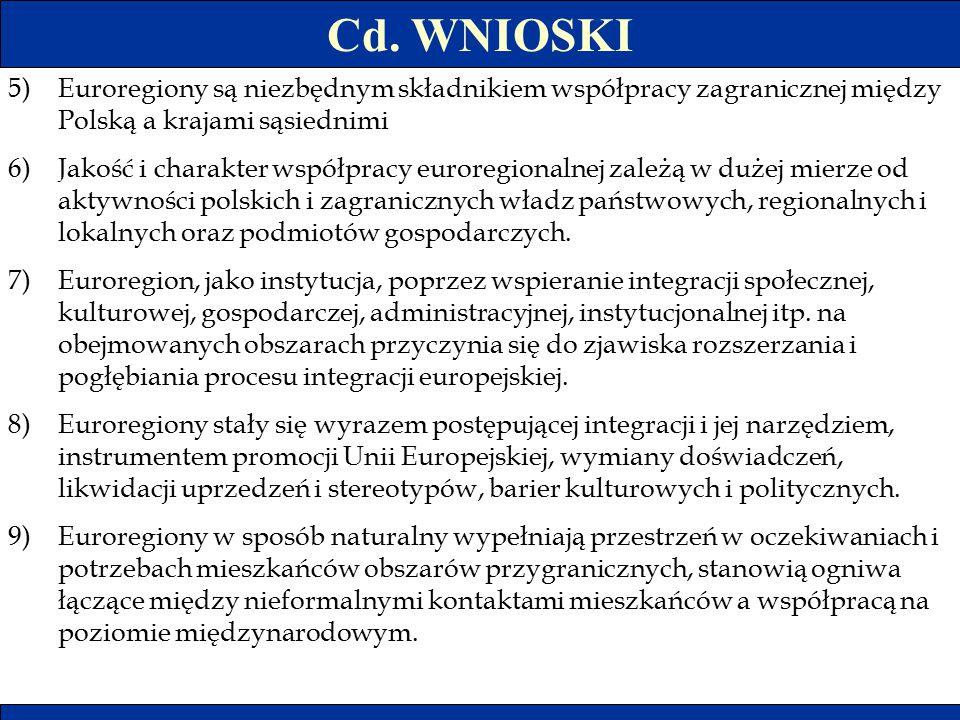 Cd. WNIOSKI Euroregiony są niezbędnym składnikiem współpracy zagranicznej między Polską a krajami sąsiednimi.