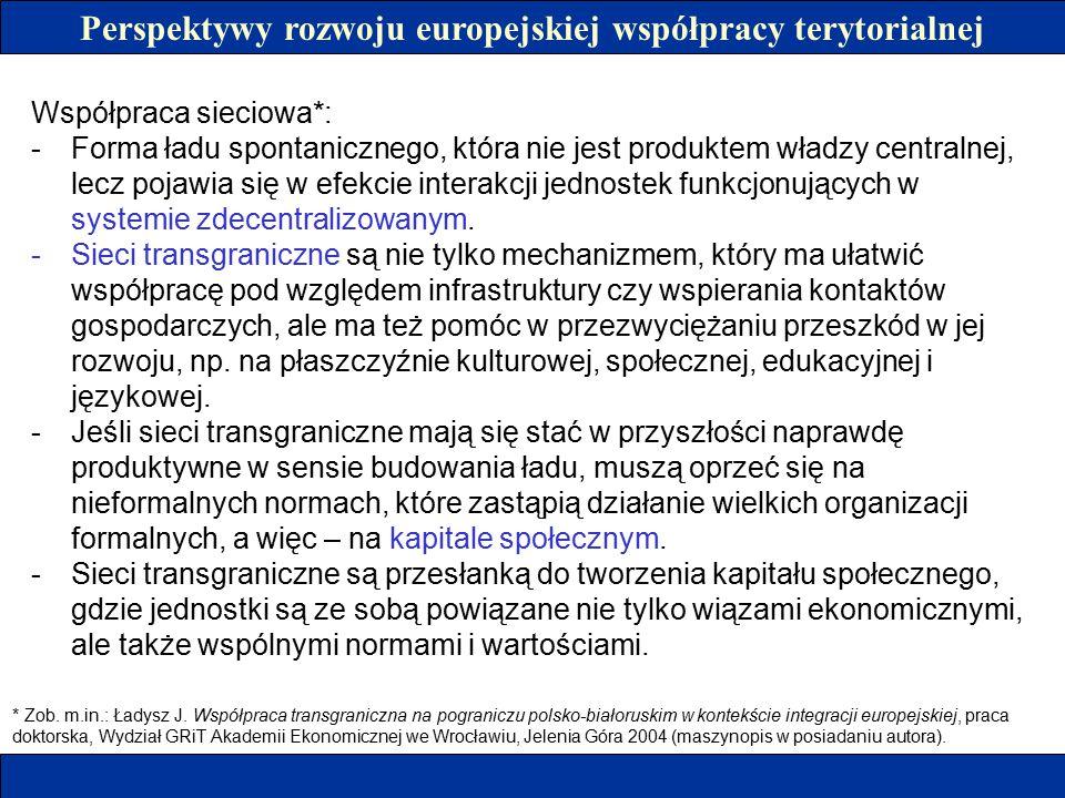 Perspektywy rozwoju europejskiej współpracy terytorialnej