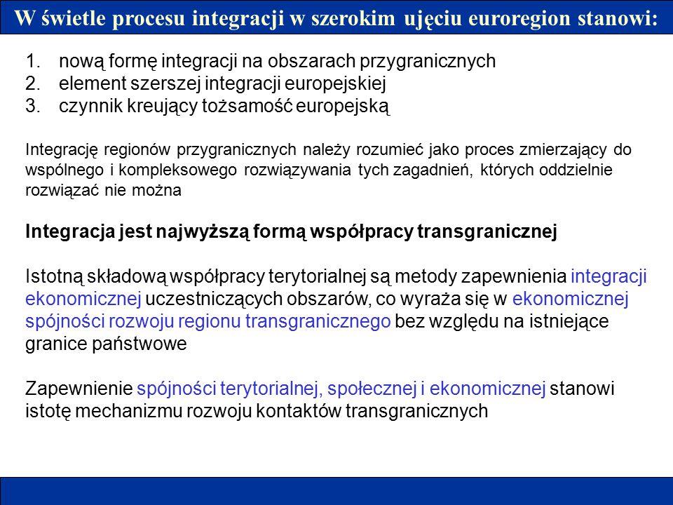 W świetle procesu integracji w szerokim ujęciu euroregion stanowi:
