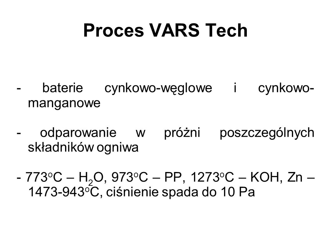 Proces VARS Tech - baterie cynkowo-węglowe i cynkowo-manganowe