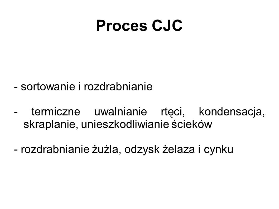 Proces CJC - sortowanie i rozdrabnianie