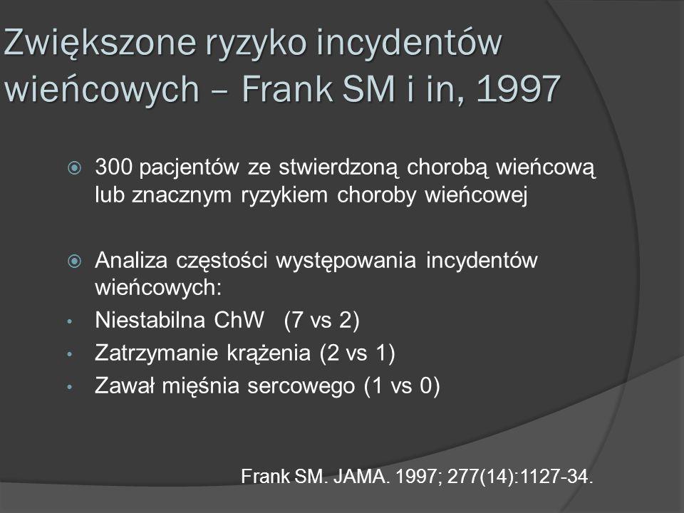 Zwiększone ryzyko incydentów wieńcowych – Frank SM i in, 1997