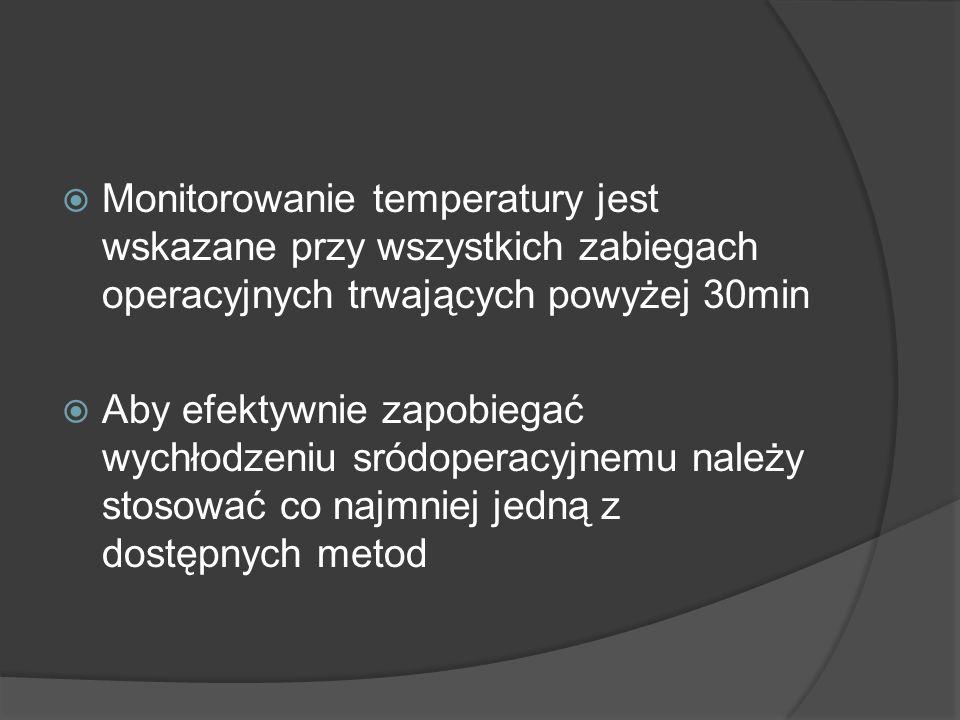 Monitorowanie temperatury jest wskazane przy wszystkich zabiegach operacyjnych trwających powyżej 30min