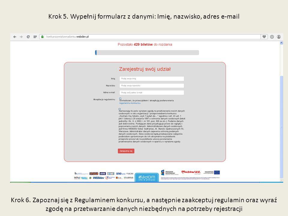 Krok 5. Wypełnij formularz z danymi: Imię, nazwisko, adres e-mail