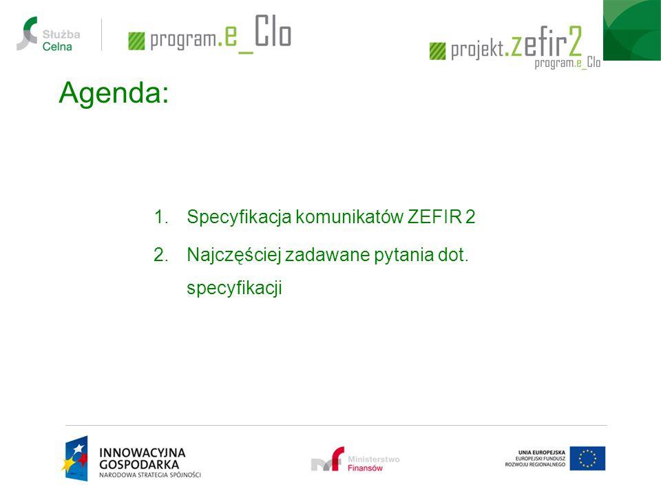Agenda: Specyfikacja komunikatów ZEFIR 2