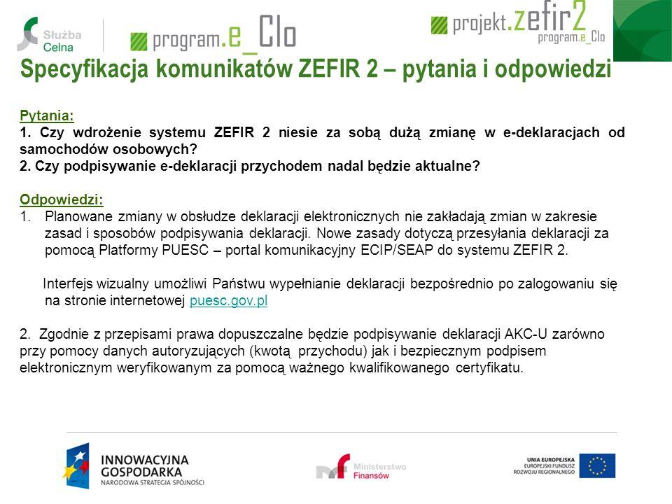 Specyfikacja komunikatów ZEFIR 2 – pytania i odpowiedzi