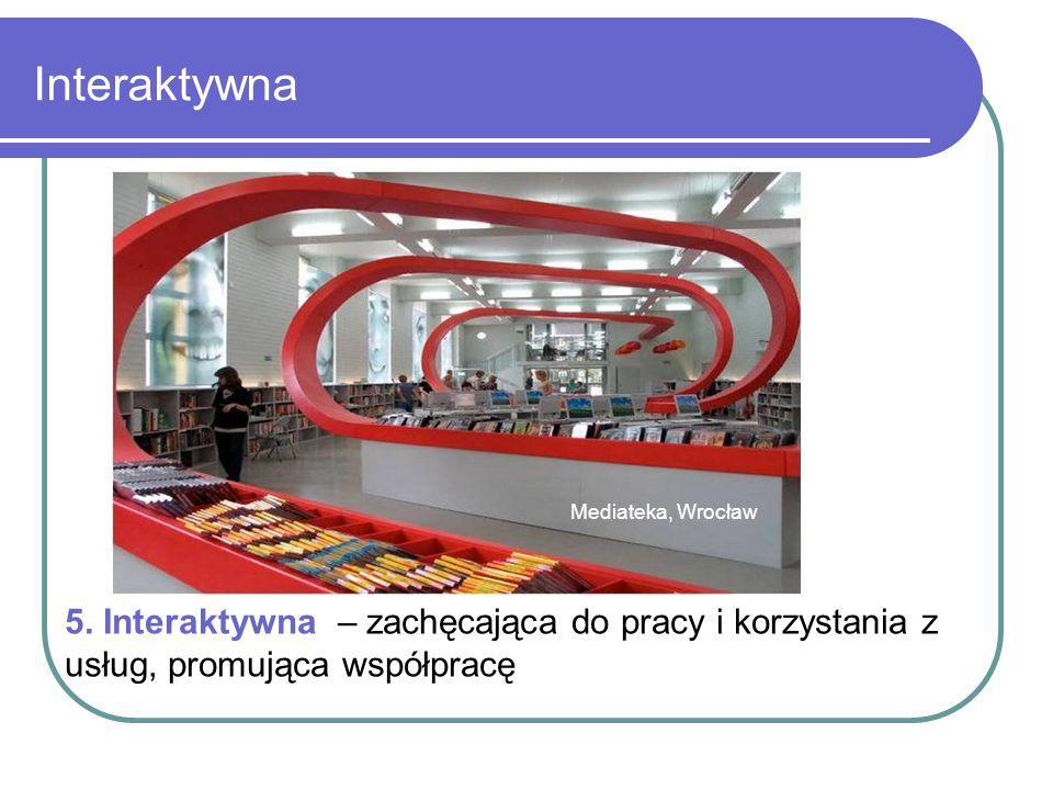 Interaktywna Mediateka, Wrocław. 5. Interaktywna – zachęcająca do pracy i korzystania z usług, promująca współpracę.