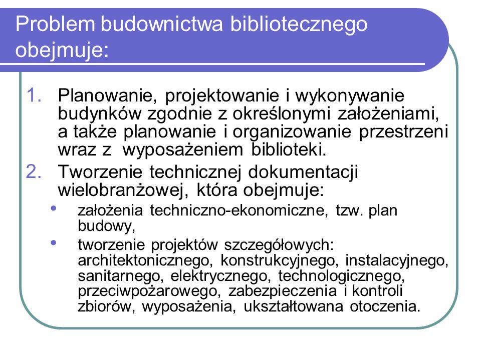 Problem budownictwa bibliotecznego obejmuje: