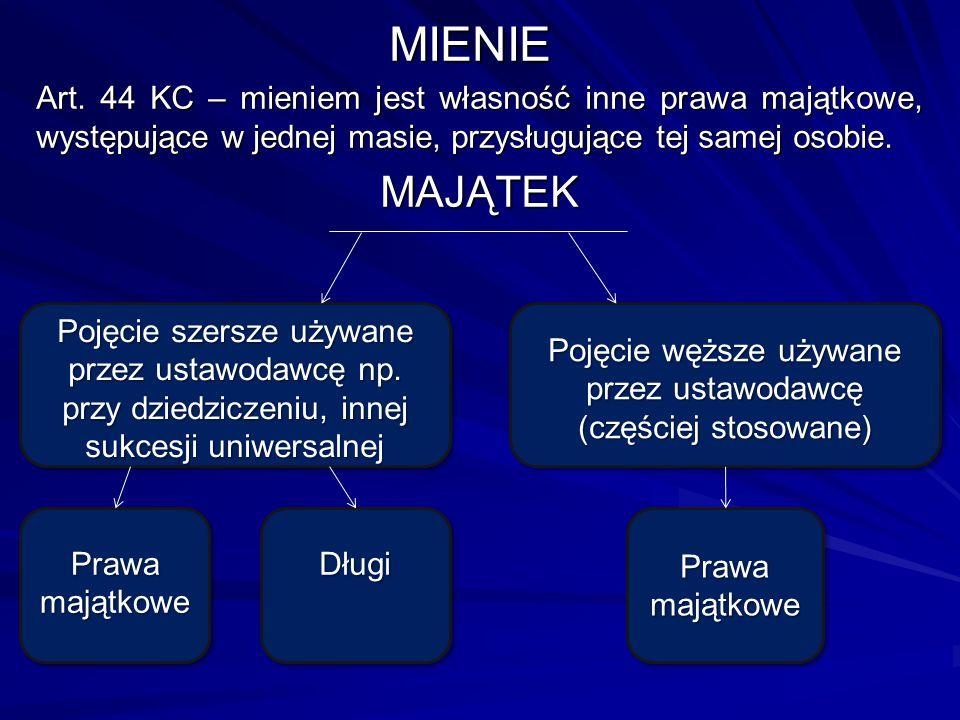 Pojęcie węższe używane przez ustawodawcę (częściej stosowane)