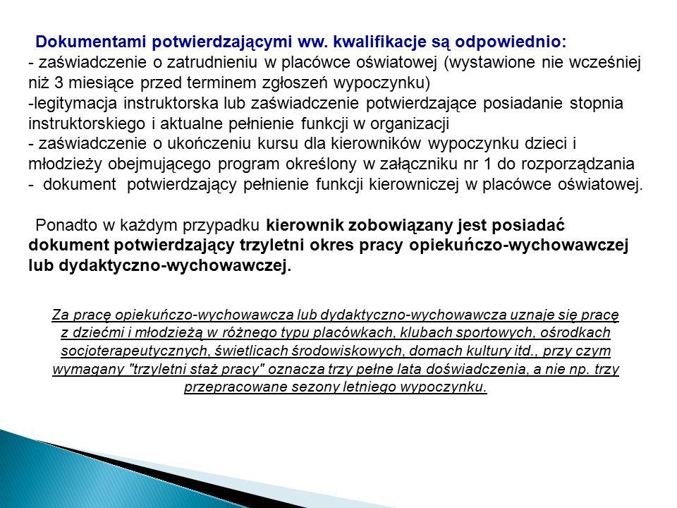 Dokumentami potwierdzającymi ww. kwalifikacje są odpowiednio: