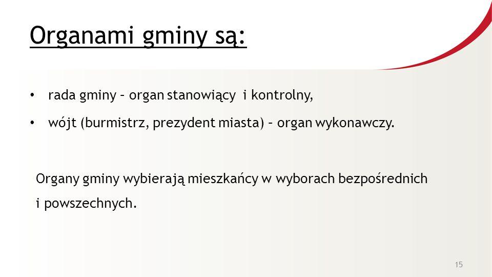 Organami gminy są: rada gminy – organ stanowiący i kontrolny,