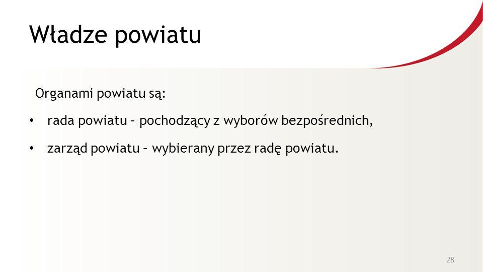 Władze powiatu Organami powiatu są: