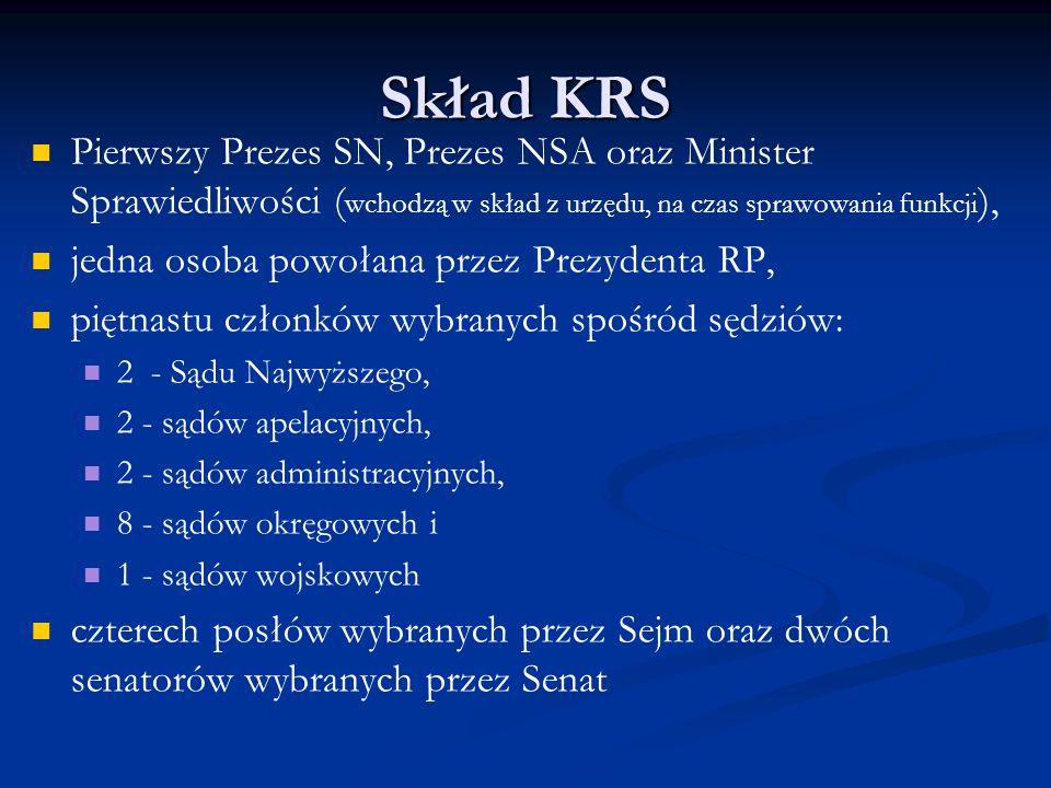 Skład KRS Pierwszy Prezes SN, Prezes NSA oraz Minister Sprawiedliwości (wchodzą w skład z urzędu, na czas sprawowania funkcji),