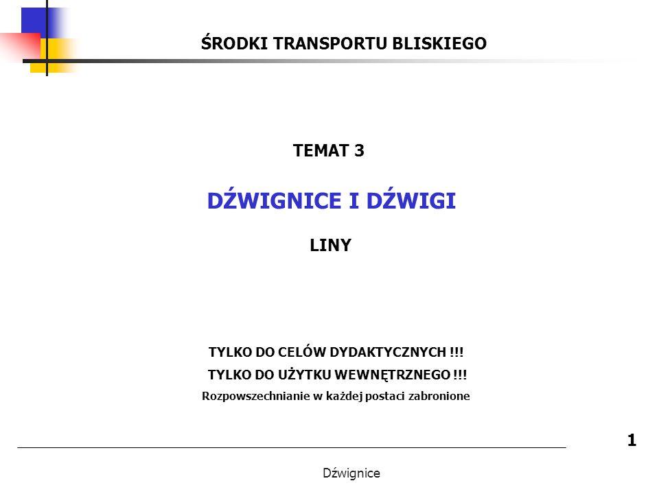 DŹWIGNICE I DŹWIGI ŚRODKI TRANSPORTU BLISKIEGO TEMAT 3 LINY 1