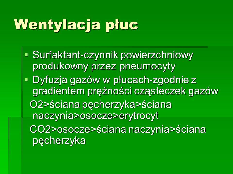 Wentylacja płuc Surfaktant-czynnik powierzchniowy produkowny przez pneumocyty.